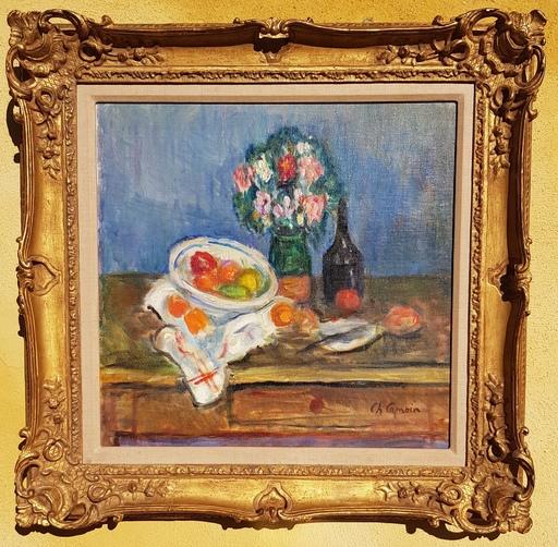 Charles CAMOIN - Pintura - Plat de fruits au bouquet