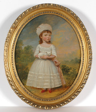 """Francis ALLEYNE - Painting - """"Portrait of a child with her cat"""" , late 18th century"""