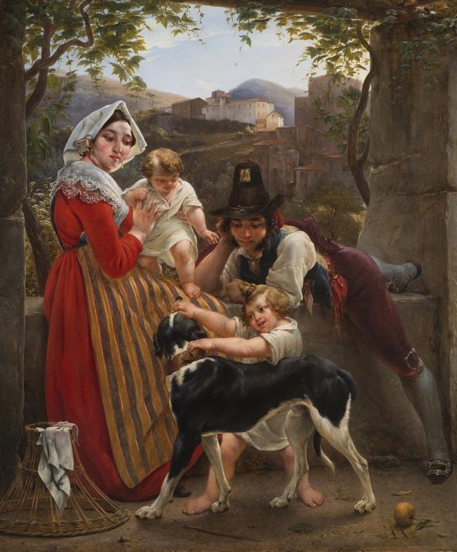 Louis RICQUIER - Painting - Une famille italienne devant un paysage
