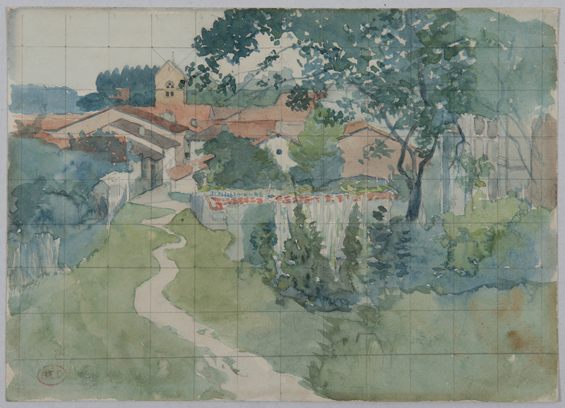 Henri Edmond CROSS - Dessin-Aquarelle - L'entrée du village