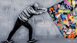 Martin WHATSON - Grabado - Behind the Curtain - Acrylic