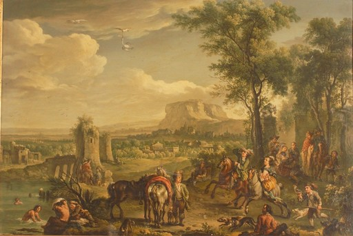 Carel VAN FALENS - Gemälde - Prise du Héron. (huile sur cuivre)