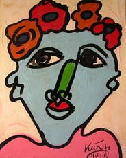 Peter Robert KEIL - Painting - Frau mit Blumenhut