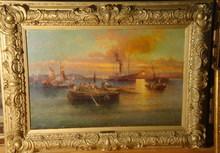 Karl KAUFMANN - Painting - Hafeneinfahrt von Messina / Italien