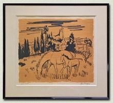 Yves BRAYER - Drawing-Watercolor - Pouliche avec son poulain