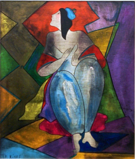 Linda LE KINFF - Painting - JULIE AU BONNET