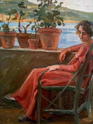 Marius BARTHALOT - Pintura - LA TERRASSE FLEURIE