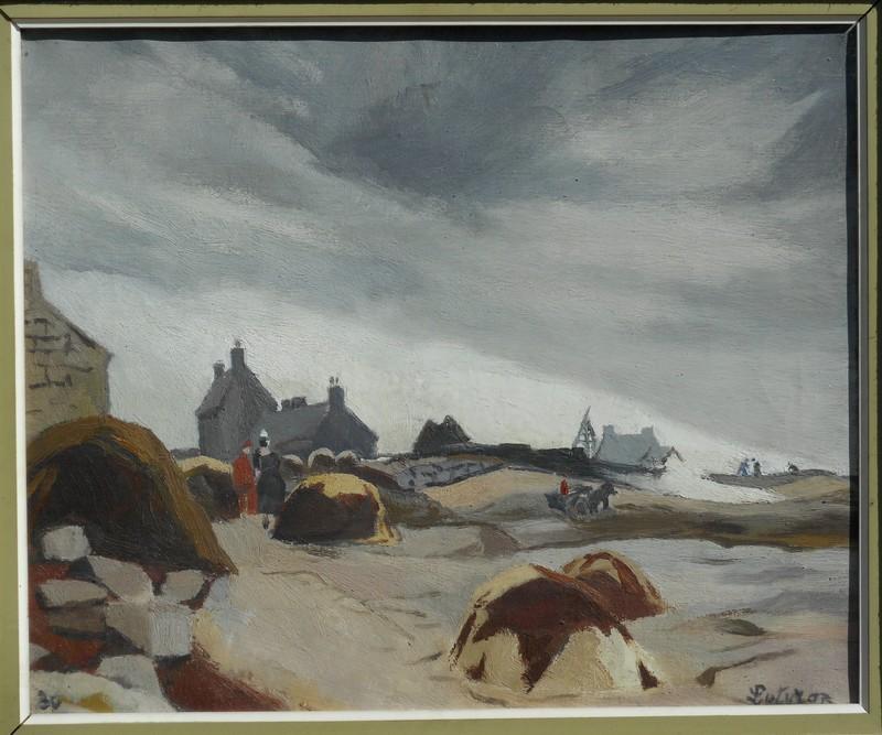 Robert LOTIRON - Painting - les brûleurs de goémon