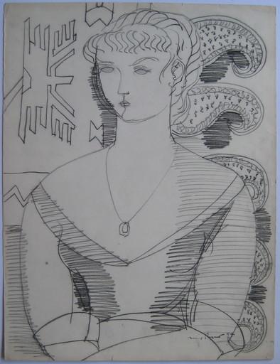 Max PAPART - Dessin-Aquarelle - DESSIN ORIGINAL AU FUSAIN 1954 SIGNÉ MAIN HANDSIGNED DRAWING