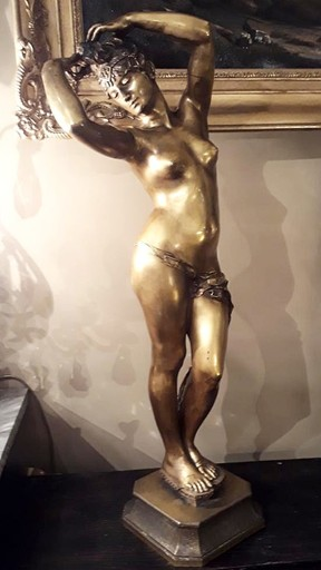 "Edmé Antony Paul NOEL - Skulptur Volumen - Odalisque Bronze Doré Par ""tony"" Noël"