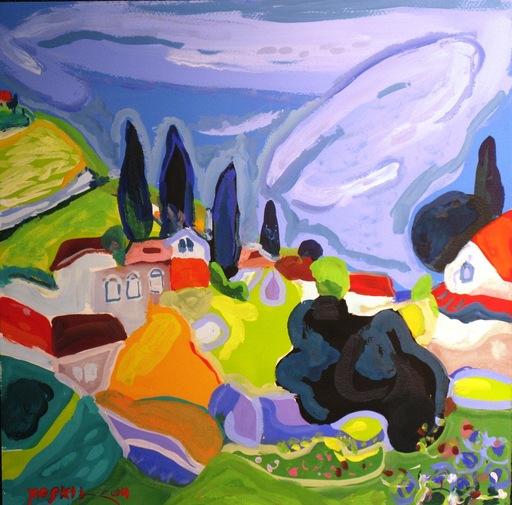 Amos YASKIL - Dessin-Aquarelle - Mount Tabor