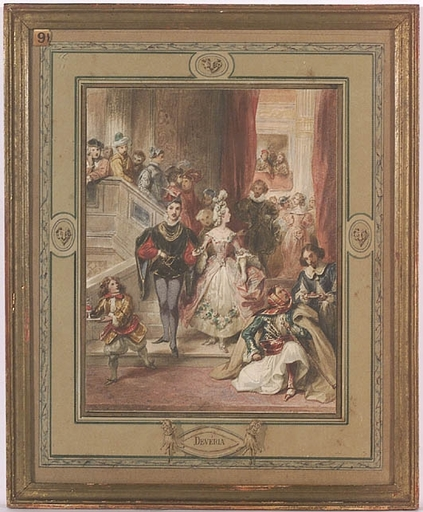 "Achille DEVÉRIA - Pittura - ""Quadrille of Mary Stuart"", Watercolour, early 19th Century"