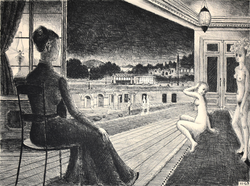 Paul DELVAUX - Grabado - In Front of the Town | Devant la Ville