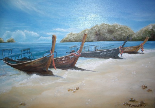Fabienne DELORD-DESCOURVIERES - Peinture - Pêche à Koh Phi Phi