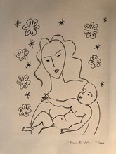 亨利·马蒂斯 - 版画 - Vierge et enfant sur fond de fleurs et d'étoiles