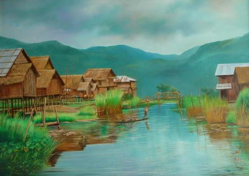 U MIN SOE - Painting - inle lake village