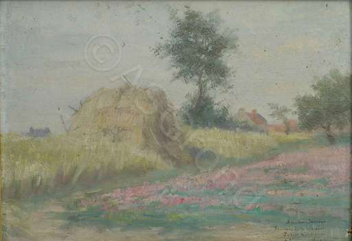 Pauline VALLAYER-MOUTET - Painting - Meule de foin / Haystack