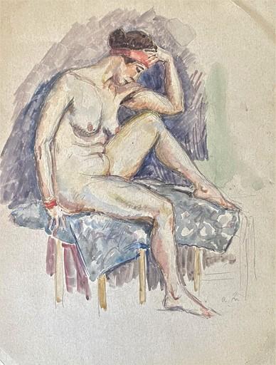 Albert MARQUET - Zeichnung Aquarell - c.1911-12 Nu au turban –Yvonne Berny