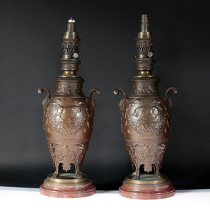 Ferdinand LEVILLAIN - Paire de lampes en bronze