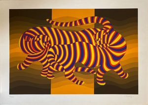 Victor VASARELY - Estampe-Multiple - Two tigers on gold