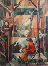 Jean LAMBERT-RUCKI - Painting - Milking the Goat