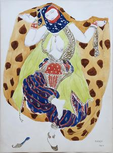 Léon BAKST - Drawing-Watercolor - Aquarelle représentant une danseuse semi-nue pour le ballet