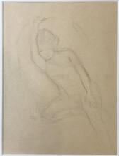 BALTHUS - Dessin-Aquarelle - Michelina endormie, le bras levé