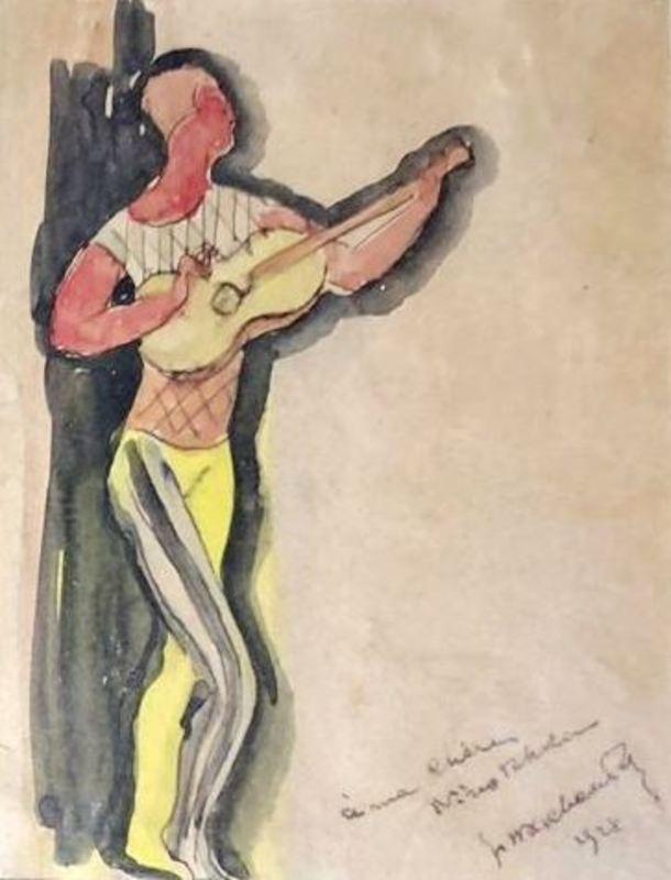 Jean Hippolyte MARCHAND - Dibujo Acuarela - Musicians (2) - Dedicated to Sonia Lewitska (1874-1937)