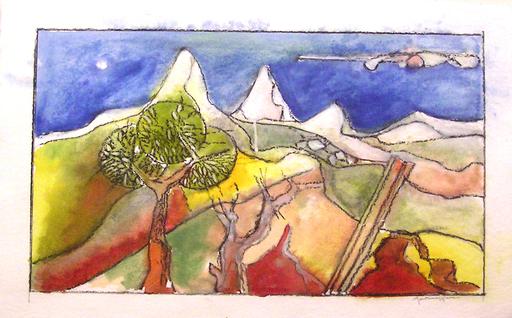 Franco MONTEMAGGIORE - Drawing-Watercolor - Paesaggio montano
