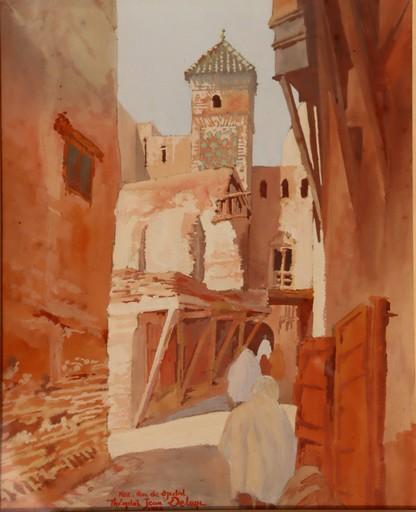 """Théophile Jean DELAYE - Drawing-Watercolor - """"RUE DJEDID A FEZ EN 1930"""""""