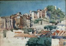 Telemaco SIGNORINI - Drawing-Watercolor - veduta in città
