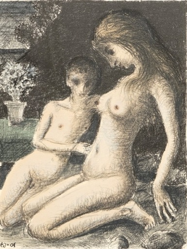 Paul DELVAUX - Estampe-Multiple - L'azalée bleue