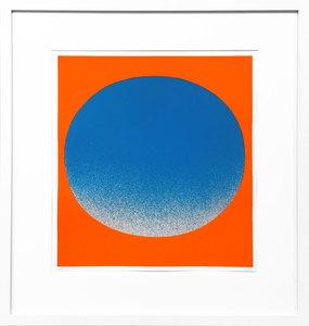 Rupprecht GEIGER - Grabado - Blauer Kreis auf Leuchtrot