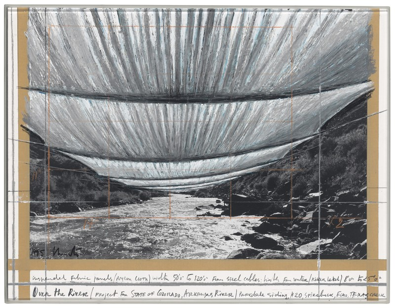 CHRISTO - Drawing-Watercolor - Over the River (Project for State of Colorado, Arkansas Rive
