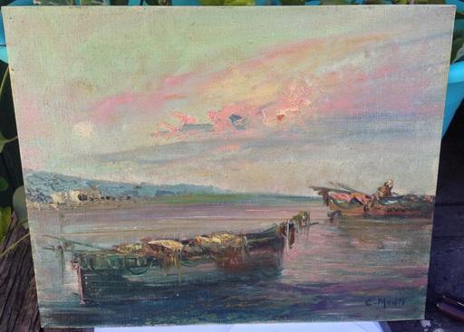 Cesare MONTI - Pintura - Barcas de pescadores