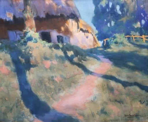 Jules LEENE VAN DE - Dibujo Acuarela - Blue green landscape with a house