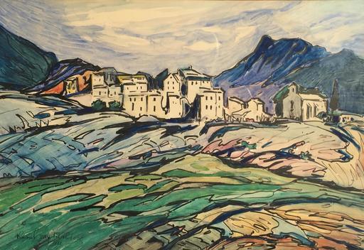 Raoul VAN MALDERE - Dibujo Acuarela - paysage