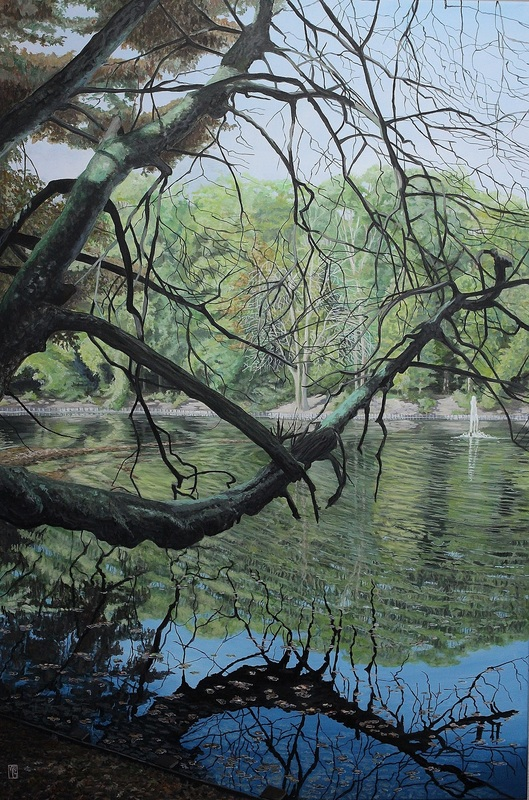 Michael GREGOR - Painting - Kleiner See im Stadtwald