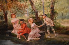 Mariano ALONZO PÉREZ - Painting - Courtesan Scene