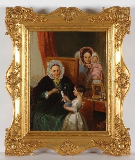 "August GERASCH - Pintura - ""Grandma's Birthday"", 1859, Oil on Canvas"