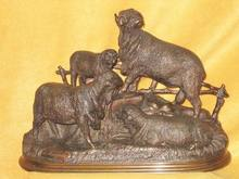 Jules MOIGNIEZ - Escultura - Groupe de moutons Mérinos
