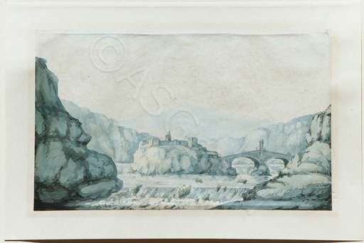 William DANIELL - Drawing-Watercolor - Festung im Fluss / River Fortification