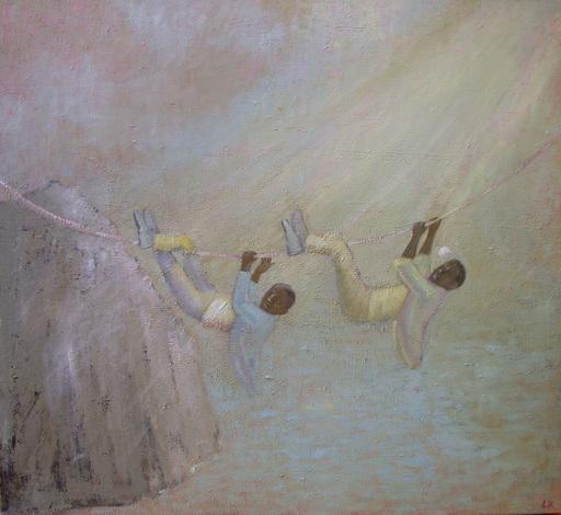 Leander KAISER - Pintura - Zwei Männer am Seil