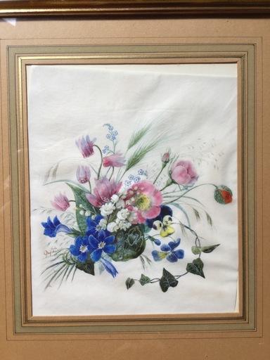 Anna Emilia REINHART - Dibujo Acuarela - Fleurs des champs