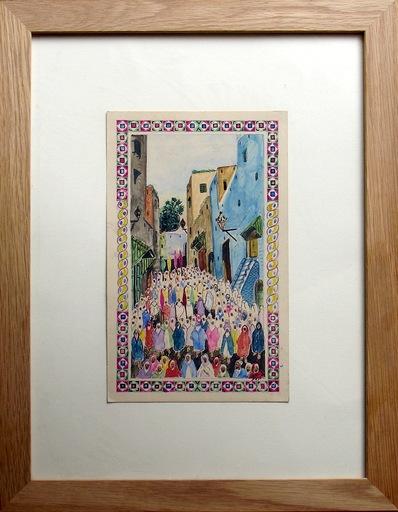 Mohamed BEN ALI R'BATI - Drawing-Watercolor - MAROC- Pèlerinage - fête