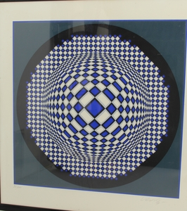 Victor VASARELY, Composition bleue
