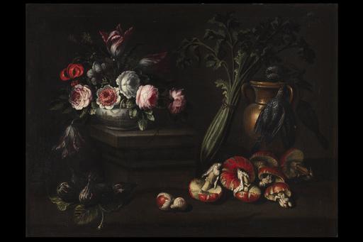 Domenico BETTINI - Painting - Natura morta con fiori, fichi, funghi, un sedano e alcuni vo