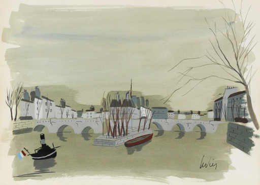 Charles LEVIER - Drawing-Watercolor - Signed watercolor and ink rendering of a bridge and boats