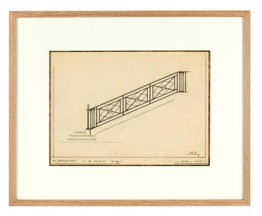 Edgar BRANDT - Drawing-Watercolor - Ensemble de sept croquis d'escaliers et portes