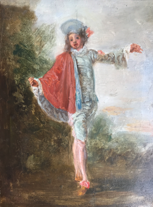 """Jozef ISRAELS - Painting - c.1845-47 after """"The indifferent"""" of Antoine Watteau"""